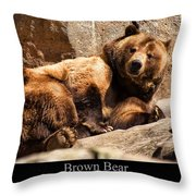 Brown Bear Throw Pillow by Chris Flees
