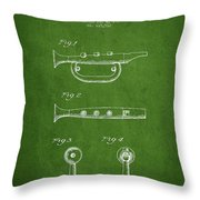 Bugle Call Instrument Patent Drawing From 1939 - Green Throw Pillow