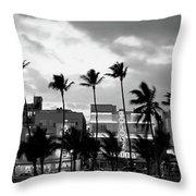 Buildings Lit Up At Dusk, Ocean Drive Throw Pillow