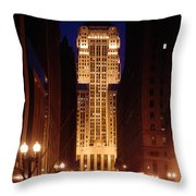 Buildings Lit Up At Night, Chicago Throw Pillow