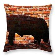 Bull At Sunrise Throw Pillow