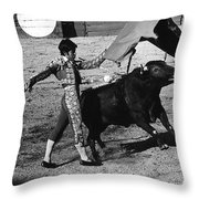 Bull Fight Matador Charging Bull Us-mexico  Border Town Nogales Sonora Mexico 1978-2012 Throw Pillow