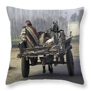 Bundled Up For The Cold In A Foggy Day In Rural India Throw Pillow