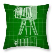 Camera Patent 1885 - Green Throw Pillow