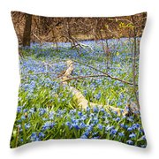Carpet Of Blue Flowers In Spring Forest Throw Pillow