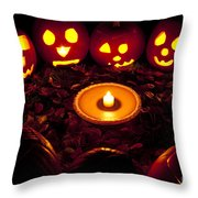 Carved Pumpkins With Pumpkin Pie Throw Pillow