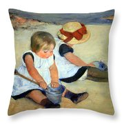 Cassatt's Children Playing On The Beach Throw Pillow