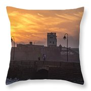Castle Of Saint Sebastian Cadiz Spain Throw Pillow