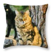 Cats In Hydra Island Throw Pillow