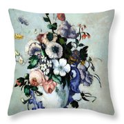 Cezanne's Flowers In A Rococo Vase Throw Pillow