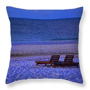 2 Chairs On A Blue Morning  Throw Pillow