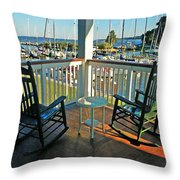 2 Chairs On The Fairhope Yacht Club Porch Throw Pillow
