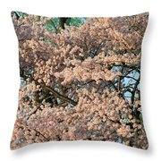 Cherry Blossoms In Pink And Brown Throw Pillow