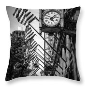 Chicago Macy's Clock In Black And White Throw Pillow by Paul Velgos