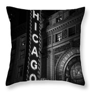 Chicago Theatre Sign In Black And White Throw Pillow by Paul Velgos