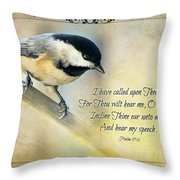 Chickadee With Verse Throw Pillow