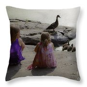 Children At The Pond 3 Throw Pillow