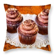 Chocolate Caramel Cupcakes Throw Pillow