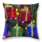 Christmas Present Ornaments Throw Pillow