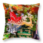 Christmas Tree Ornaments And Decorations Throw Pillow