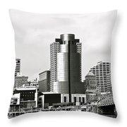 Cincinnati Black And White Panorama Throw Pillow