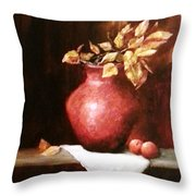 Clay Vessel And Peaches Throw Pillow