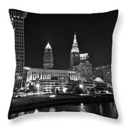 Cleveland In Black And White Throw Pillow