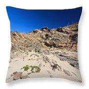 cliff in San Pietro island Throw Pillow