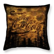 Coca Cola Wooden Sign Throw Pillow