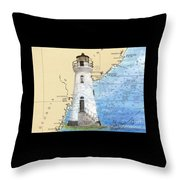 Cockspur Island Lighthouse Ga Nautical Chart Map Art Cathy Peek Throw Pillow