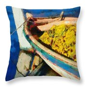 Colorful Boat Throw Pillow