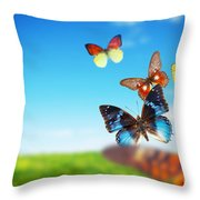 Colorful Buttefly Spring Field Throw Pillow