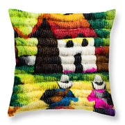 Colorful Fabric At Market In Peru Throw Pillow
