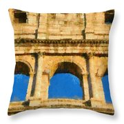 Colosseum In Rome Under Late Afternoon Light Throw Pillow