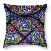 Colourful Stained Glass Window In Throw Pillow