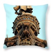 Columbus Column On The Barcelona Habour With High Details Throw Pillow
