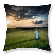 Concept Landscape Young Boy Walking Through Field At Sunset In S Throw Pillow by Matthew Gibson