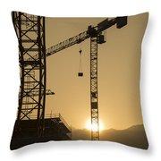 Construction Cranes Throw Pillow