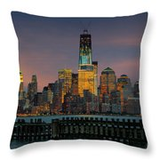 Construction Of The Freedom Tower Throw Pillow