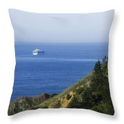 Container Ship On Open Water Throw Pillow