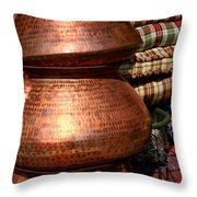 Copper Pots Throw Pillow