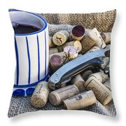 Corks With Corkscrew Throw Pillow