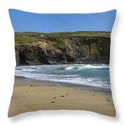Cornish Seascape Gunwalloe Throw Pillow