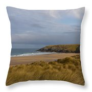 Cornish Seascape Holywell Bay Throw Pillow