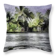 Cottage With Greenery All Around Throw Pillow