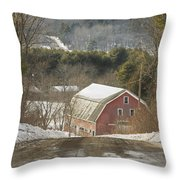 Country Road And Barn In Winter Maine Throw Pillow