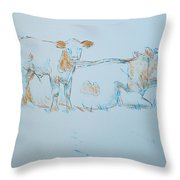 Cow Painting Throw Pillow