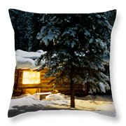 Cozy Log Cabin At Moon-lit Winter Night Throw Pillow