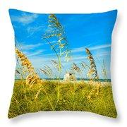 Crandon Park Beach Throw Pillow