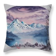 Crimson Frost Oval Throw Pillow